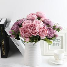 1 pakiet jedwabny bukiet piwonii akcesoria do dekoracji domu wesele księga gości sztuczne rośliny diy pompony sztuczne róże kwiaty tanie tanio Sztuczne Kwiaty Bukiet kwiatów Piwonia Jedwabiu Ślub