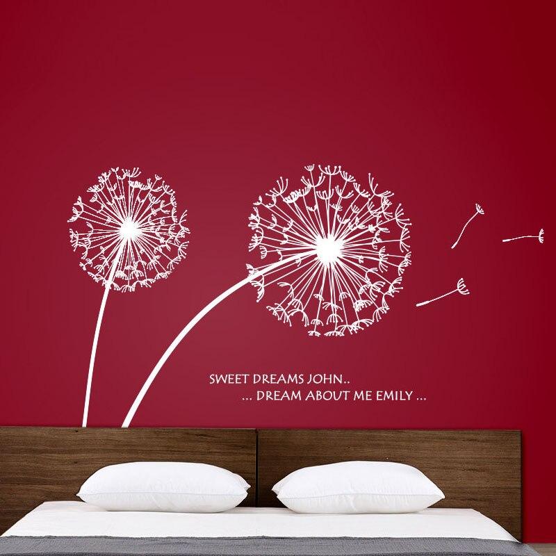 Dctop Лидер продаж красивый Одуванчик Наклейки на стену Спальня Съемные Виниловые Наклейки на стены украшения