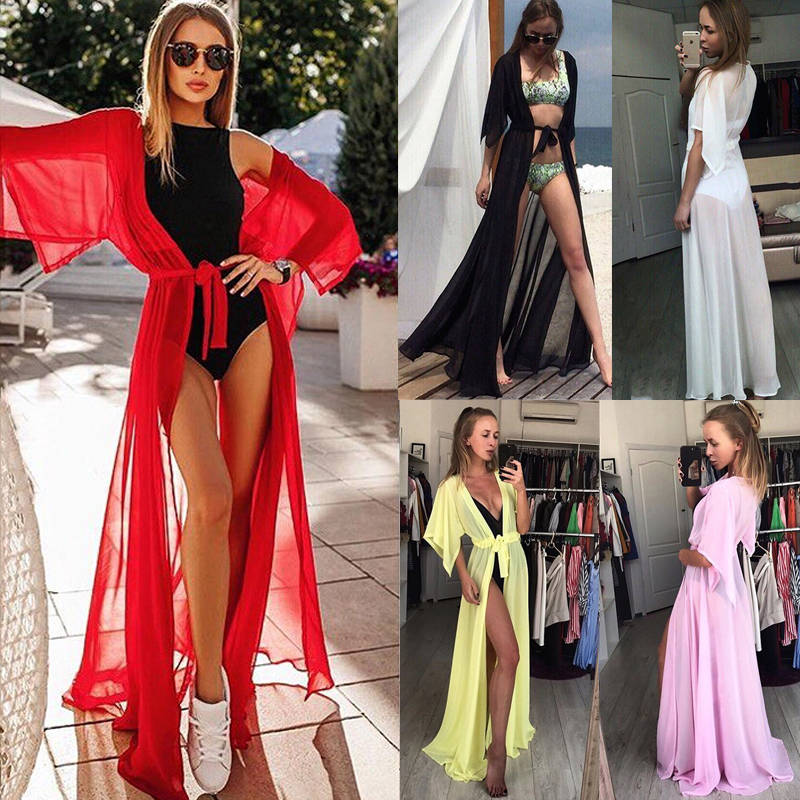2019 Bright Color Sexy Women Swimsuit Cover Up Sexy Beach Cover Ups Chiffon Long Dress Solid Beach Bathing Suit