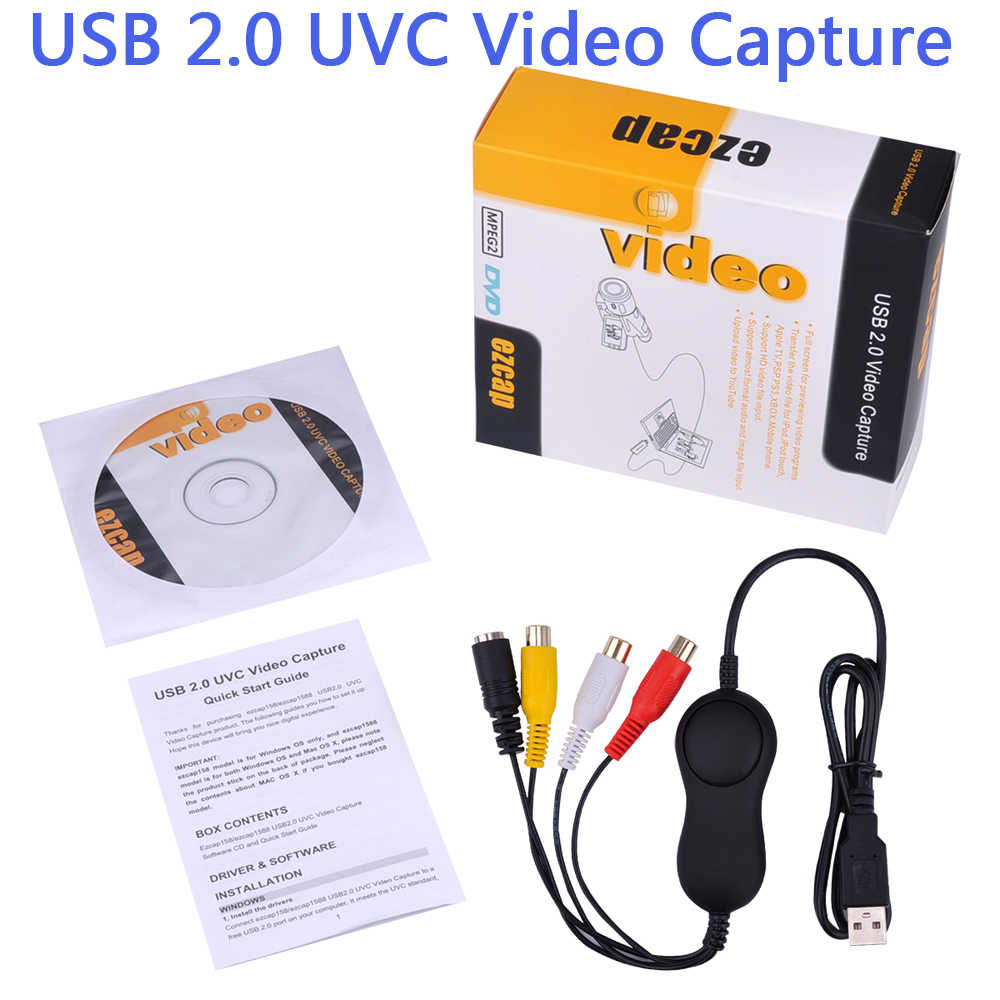 USB 2.0 UVC Audio Video Capture Analog Rekaman Video untuk Xbox PS3 VHS Kamera Tua Mendukung Windows Linux Mac Win10