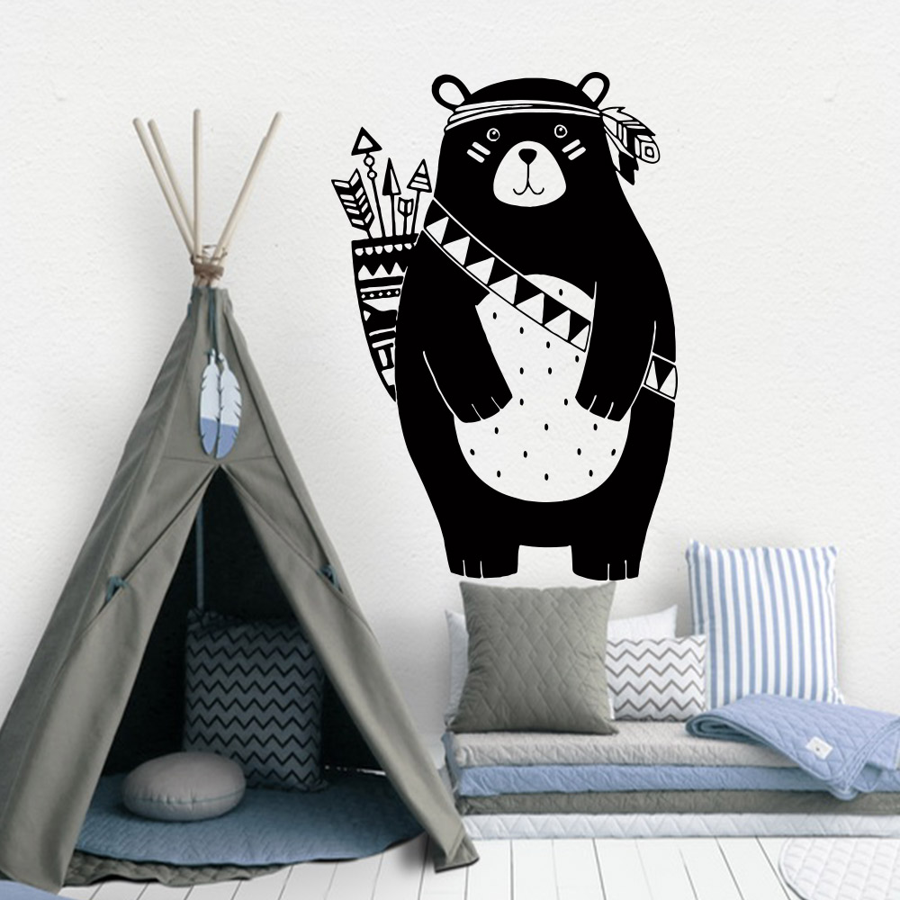 Lovely Tribal Bear Vinyl Wallstickers For Kids Room Decoration Babys Boys Bedroom Decor Murals Wall Sticker For Child