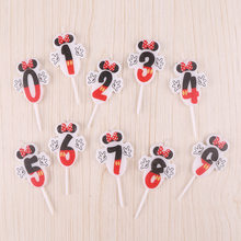 1Pcs Happy Birthday Cartoon Candle Mickey Minnie Mouse Candle Anniversary Cake Numbers 0-9 Age Candle Baby Party Decoration DIY(China)