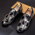 Fashion Men Flats Genuine leather Casual Loafers Fashion Sequins Model show shoes lighten-end Casual Driving shoes 022