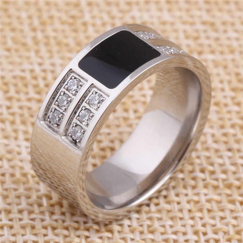 8mm Wide CZ Wedding Rings Enamel Engagement Rings For Women Men Drop Shipping