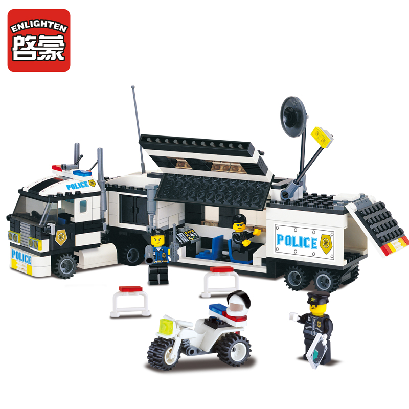 ENLIGHTEN 325Pcs LegoING City Police Truck Car Building Blocks Sets SWAT DIY Bricks Kids Playmobil Educational Toys For Children new educational toys for kids game electronic building blocks sets enlighten bricks physics learning best gift for children