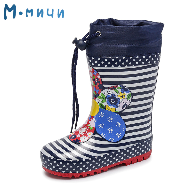 MMNUN Children Rain Boots Spring Autumn Winter Girls Shoes Baby Kids Flower Rainboots girl fashion Walker Waterproof Shoes kelme 2016 new children sport running shoes football boots synthetic leather broken nail kids skid wearable shoes breathable 49