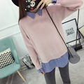 H.SA Spring Women Pullover and Sweaters Fake 2 pcs Shirt Sweater Jumpers Long Sleeve Split Korean Burderry Pull Femme Unif