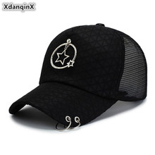 XdanqinX New Adult Womens Ponytail Cap Mesh Breathable Baseball Caps Adjustable Size Hoop Ring Decoration Hip Hop Hat For Women