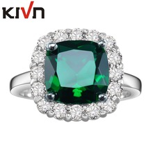 KIVN Fashion Jewelry Princess Blue CZ Cubic Zirconia Bridal Engagement Rings for Women Mothers Day Birthday Christmas Gifts