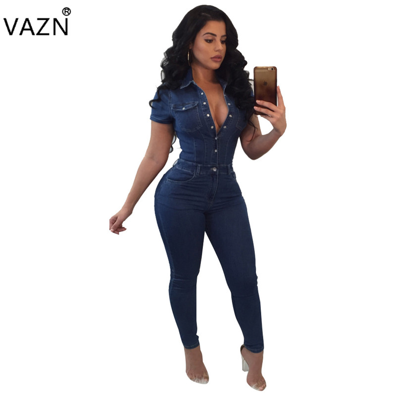 VAZN Hot Fashion Elegant Style 2018 Bodycon Jumpsuit Short Sleeve Full Length Jumpsuit Summer Denim Jumpsuit SMR8846 ...
