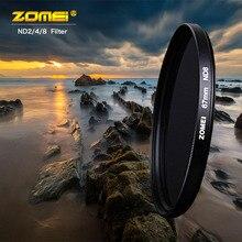 Zomei ND מצלמה מסנן צפיפות ניטראלי מסנן ND2/4/8 אופטי שרף מסנן 52/55/58 /62/67/72/77/82mm Filtro עבור SLR DSLR עדשה