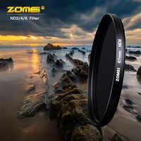 Zomei ND Filtro de densidad neutra ND2/4/8 Filtro de resina óptica 52/55/58/62/67/72/77/82mm Filtro para lente SLR DSLR