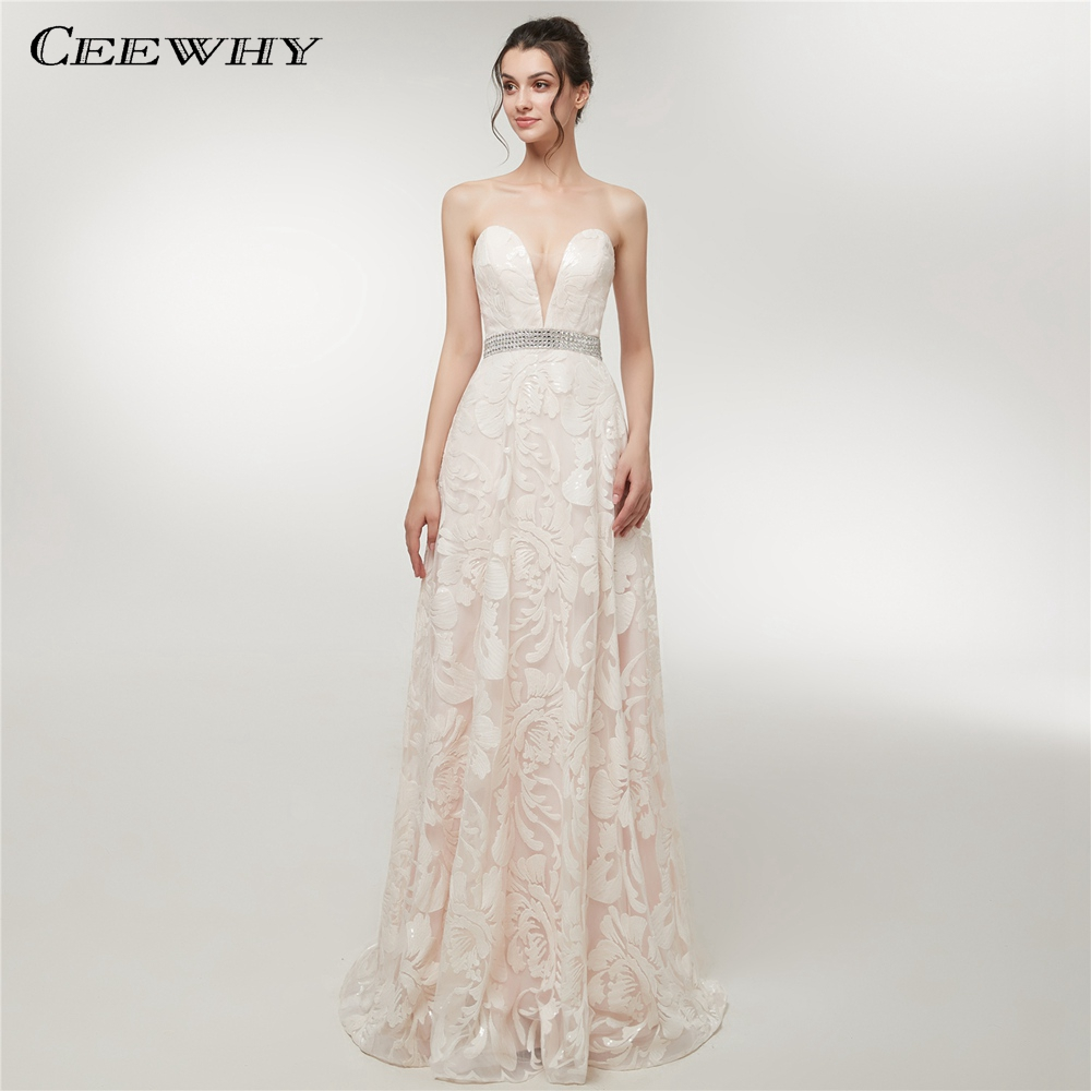 Cheap Plus Size Wedding Dress 2017 Beaded Strapless Bodice: CEEWHY Strapless Lace Evening Dresses Beaded Long Beach