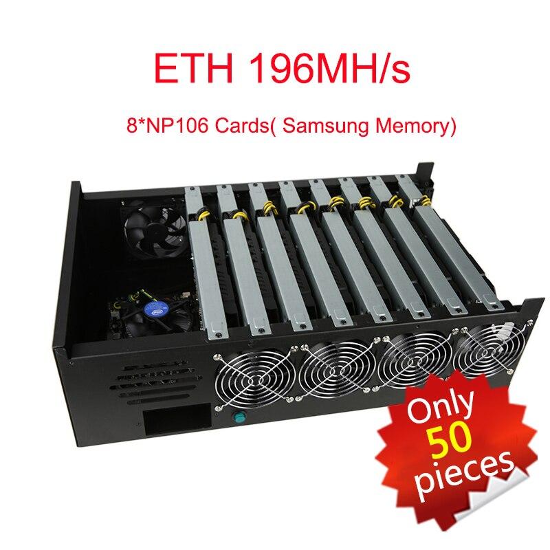 Дешевые mining буровой станок Antminer 8 np106 карты 1600 Вт Eth 196mh/S zec 2500 blockchain Win10 plug and играть Samsung памяти Bitcoin