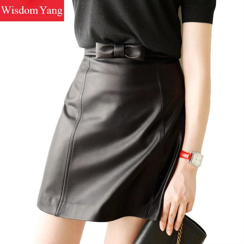 b5fdf59316a68 Black Real Genuine Leather Skirt Sheep Skin High Waisted Mini Skirts Women  Bow Bodycon 2018 Party
