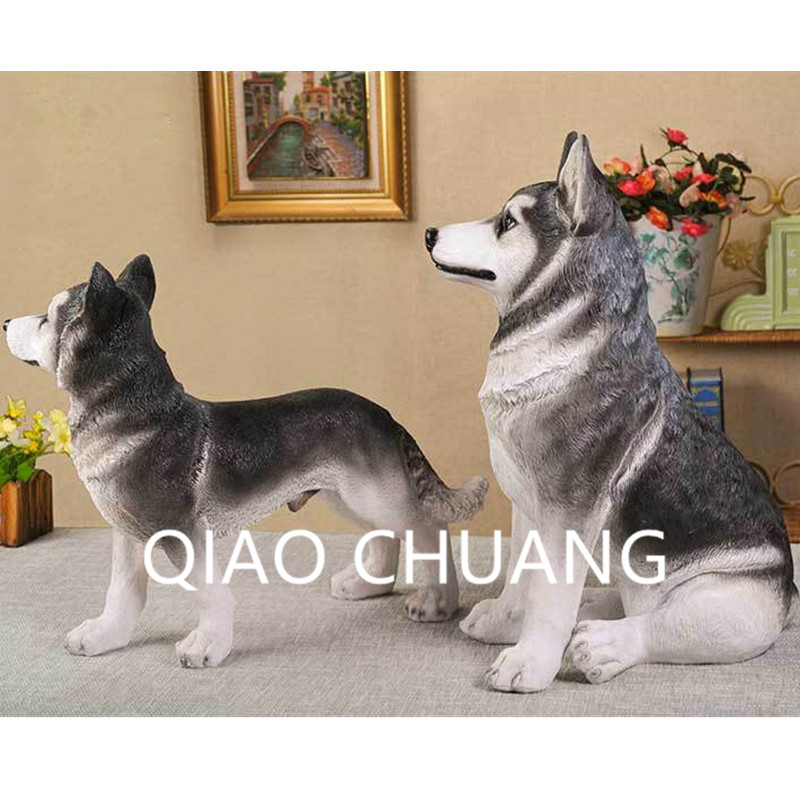 Creative World Famous Dog Home Furnishing Articles Colophony Crafts Simulation Sled Dog Siberian Husky Animal Model Toy G919 mnotht new 1 6 scale siberian husky model simulation animal pet dog model toys for 12in soldier toy scene collections hobbies