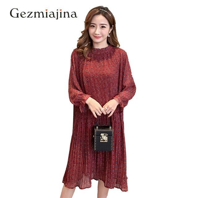 New Spring Maternity Clothes Maternity Dresses Long Sleeve Chiffon Dress Fashion Print Dress Plus Size