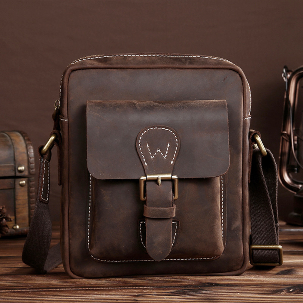 Crazy Horse Leather Retro Male Messenger Shoulder Top Quality Genuine Cowhide New Men Cross Body Luxury Briefcase Business Bag joyir men briefcase real leather handbag crazy horse genuine leather male business retro messenger shoulder bag for men mandbag