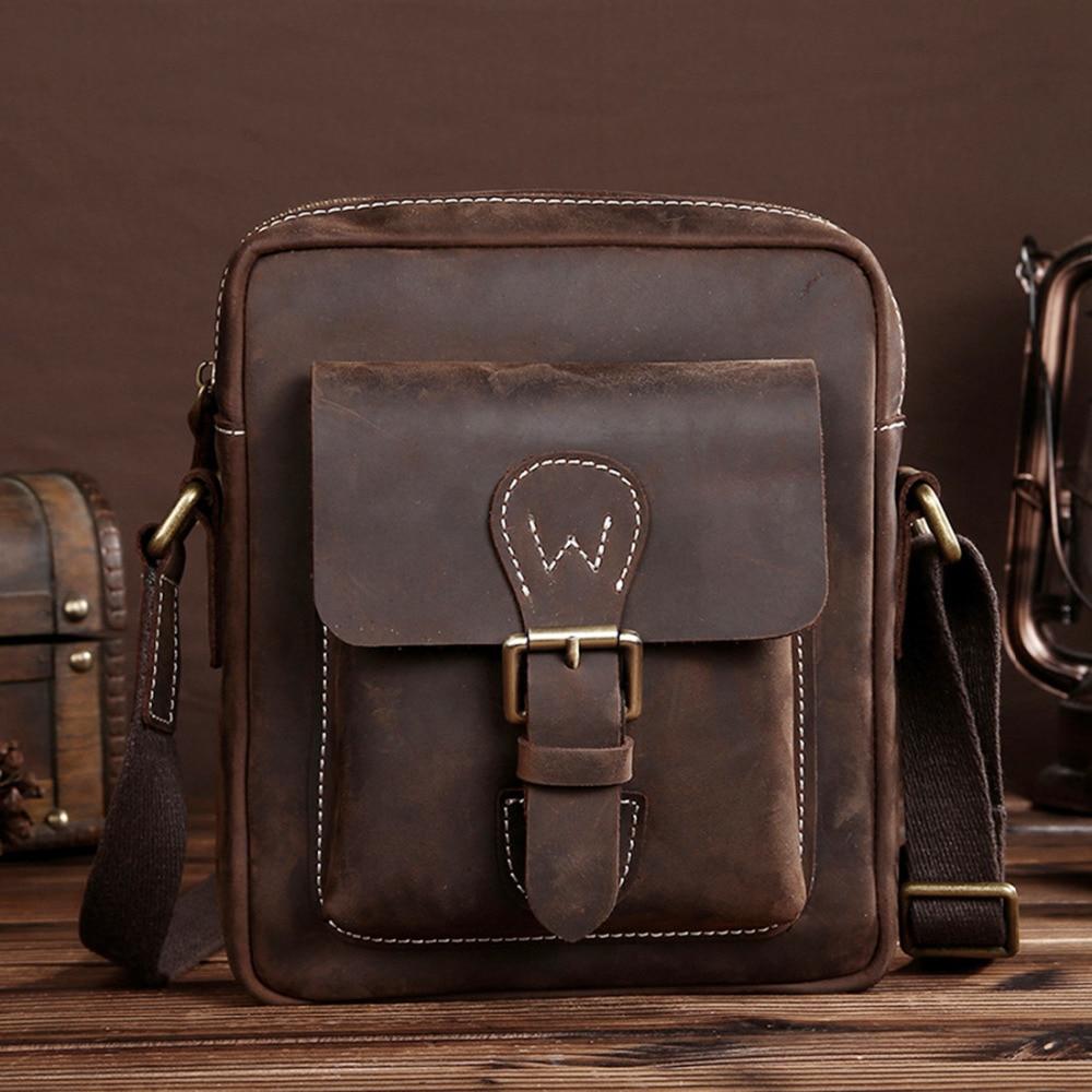 2837d21e3b Crazy Horse Leather Retro Male Messenger Shoulder Top Quality Genuine  Cowhide New Men Cross Body Luxury