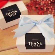 90 шт Прямоугольная Черная ручная работа/Спасибо торт упаковка запечатывания этикетки из крафтовой бумаги стикер выпечки Подарочные наклейки «сделай сам»
