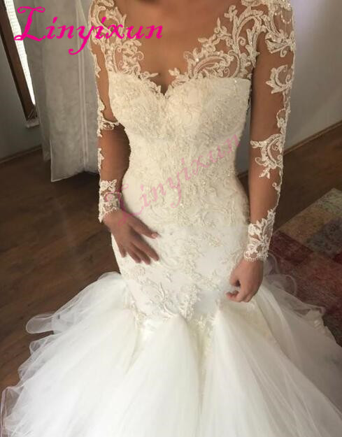 Sexy manches longues robes de mariée sirène 2018 col transparent Appliques dentelle Tulle sirène robes de mariée magnifiques robes de mariée
