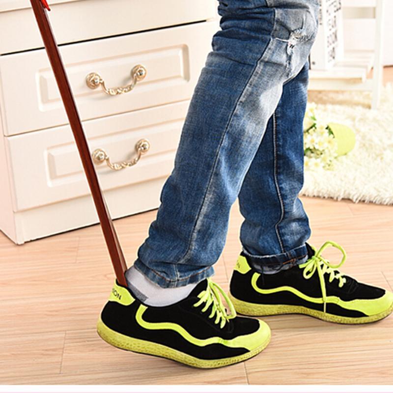 55 см красного дерева ремесло деревянный рожок для обуви профессиональные деревянные длинные ручки рожок для обуви Lifter ShoehornP1 ...