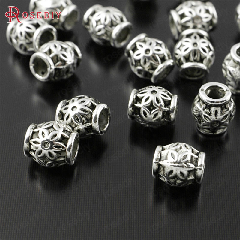 (29999)100PCS 6.5x5.5MM Antique Silver Zinc Alloy With Flower Spacer Beads Bracelets Beads Diy Jewelry Findings Accessories
