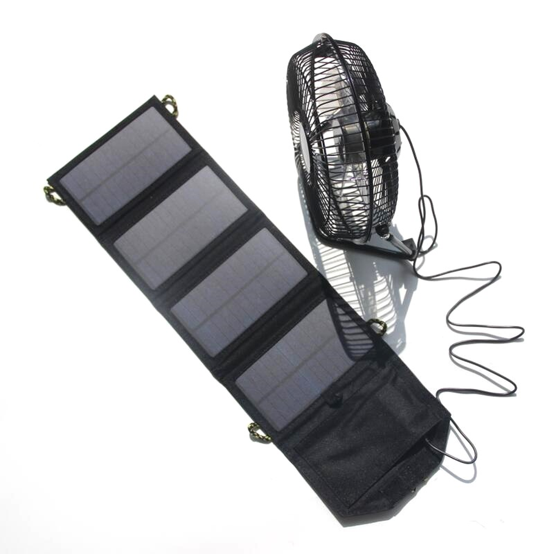 High Recommend 1 Set 7W Solar Panel Folding Bag with 8 Inch USB Solar Fan for Mobile Phone Charger Power Outdoor Equipment Hot palmexx x1usb px solar 7w