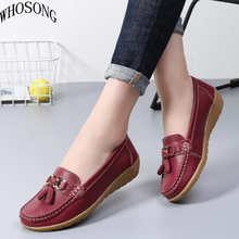 WHOSONG Women Leather Shoes Moccasins Mother Loafers Soft Leisure Flats Casual Female Driving Ballet Footwear nurse shoes M10