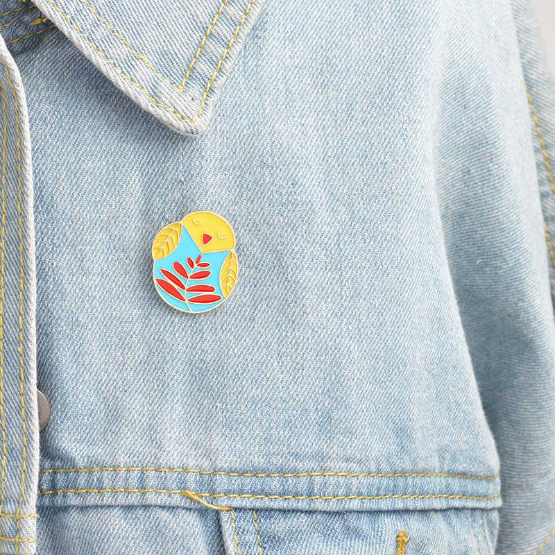 Owl Enamel Bros Kecil Yang Lucu Burung Pin Tombol Pins Denim Pakaian Tas Lencana Kartun Hewan Perhiasan Hadiah untuk Anak-anak Teman