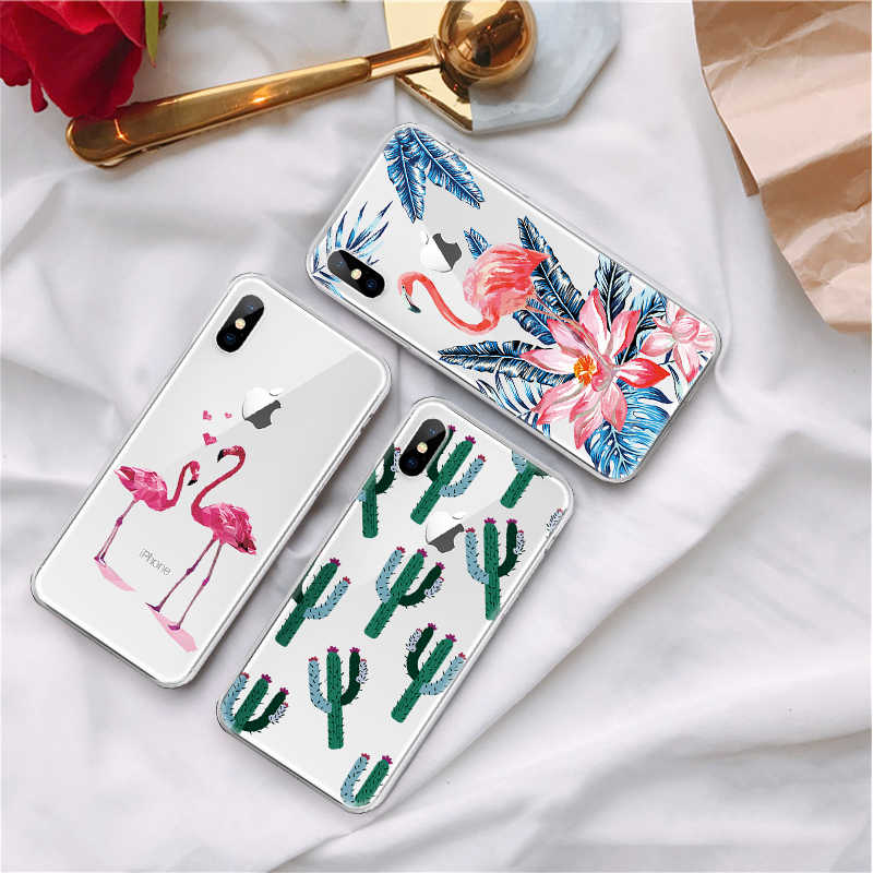 Милый чехол для телефона для iPhone 7 8 Plus 6 6 S Plus X XS Max XR 5 5S SE Мягкий силиконовый чехол для iPhone 6 S Plus, 7, 8, кактус Фламинго чехол