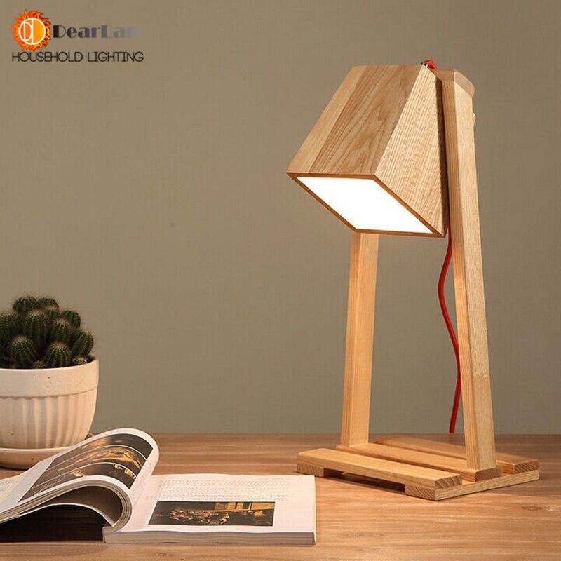 moderno estudio de madera led de lectura lmparas de mesa lmpara de mesa cabecera del escritorio de interior para la sala de estar sala de estudio sala de - Lamparas De Madera