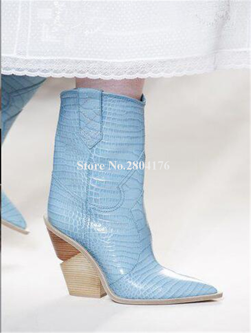 Muster Kurze as dicke Spitz Rosa Spike Cut out Leder Ferse Picture Blau Stiefel Mode Chunky Marke Picture on As Slip Neueste fHqYvq