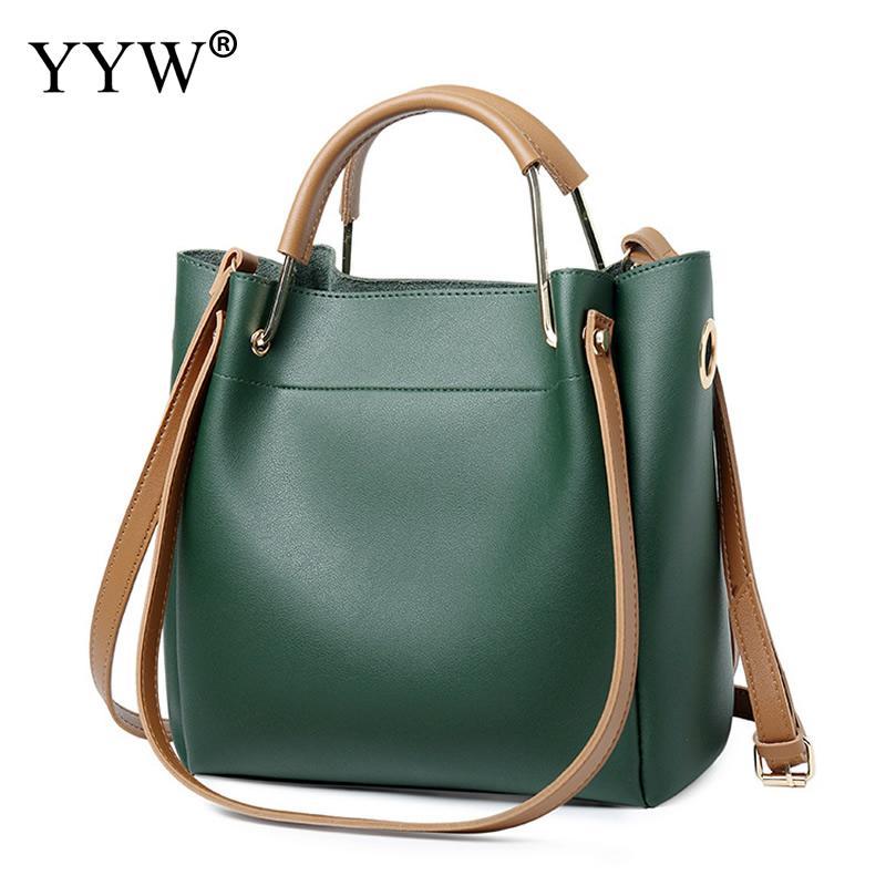 Solid Soft PU Leather Female Shoulder Bag Women'S Bucket Handbags Light Grey Tote Bags For Women 2018 Designer Top-handle Bag 19