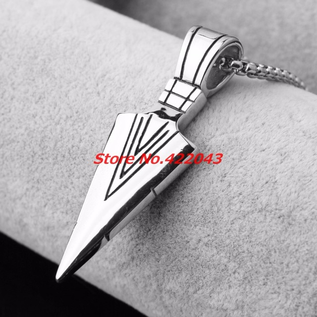 Fashion mens necklaces stainless steel spearhead silver arrowhead fashion mens necklaces stainless steel spearhead silver arrowhead pendant necklace for men special surf bike chocker mozeypictures Gallery