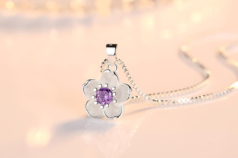 HTB1C9hHacTxK1Rjy0Fgq6yovpXai - Cherry Blossoms Necklace Flower Silver Chain Color Pink Purple Crystal Pendant Necklaces Jewellery Collier Femme