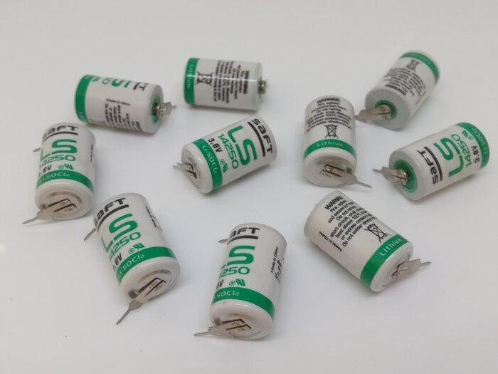 8 pçs/lote original brandnew saft ls14250 ls 14250 1/2 aa 1/2aa 3.6 v 1250 mah plc bateria de lítio baterias com pinos