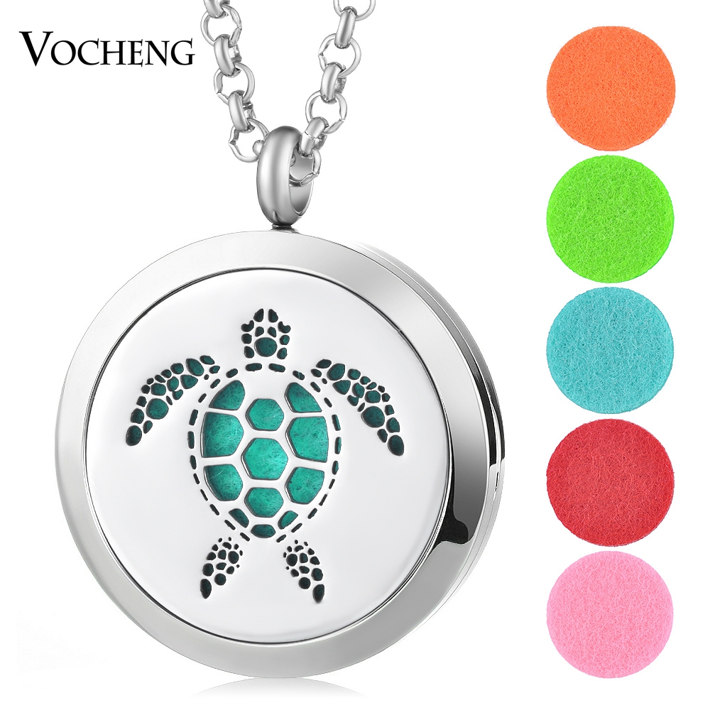 30mm Essential Perfume Oil Diffuser Locket 316L Stainless Steel Turtle Magnetic Randomly Send 5pcs Oil Pads as Gift VA-405 30mm yl logo magnet 316 stainless steel car aromatherapy locket free pads essential oil car perfume lockets drop shipping