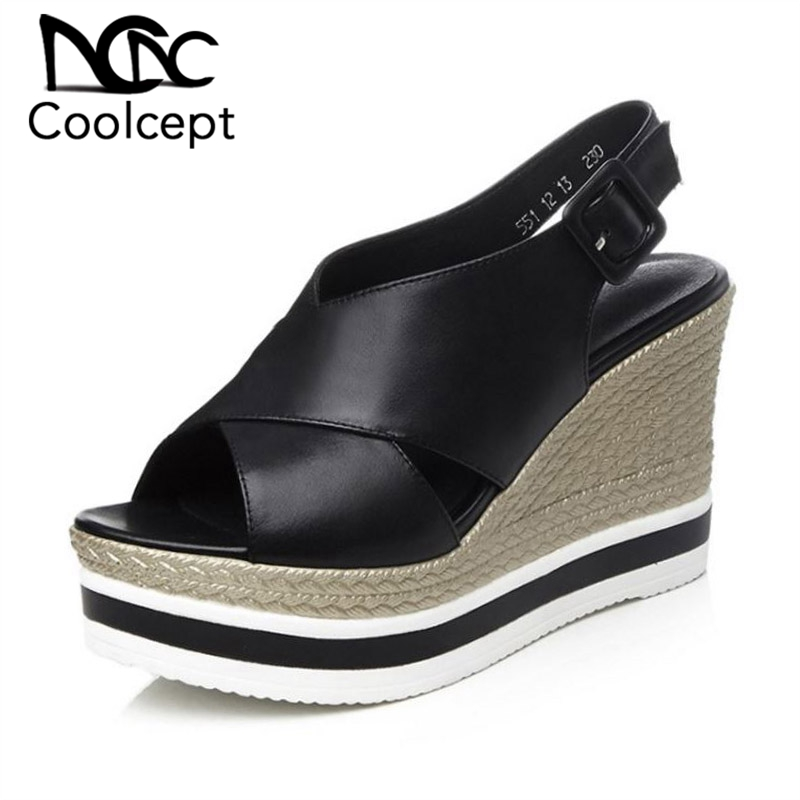 Coolcept Summer Genuine Leather Women Sandals Buckle Wedges Shoes Peep Toe Platform Sexy Women High Heels Footwear Size 33-39Coolcept Summer Genuine Leather Women Sandals Buckle Wedges Shoes Peep Toe Platform Sexy Women High Heels Footwear Size 33-39
