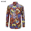 KCAE Free Shipping Colorful Spring Fashion Brand Mens Clothes Printed Shirt Large Size Asian Size M-3XL Slim Floral Shirt Men