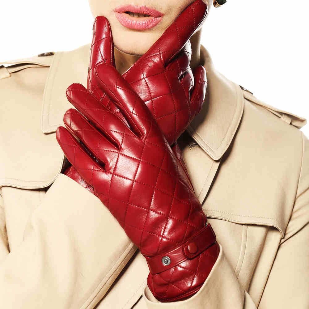 Leather work gloves sale - Sale Thicken Warm Winter Gloves Wrist Fashion Solid Touchscreen Glove For Womens Lambskin Real Genuine Leather Sheepskin L121nc