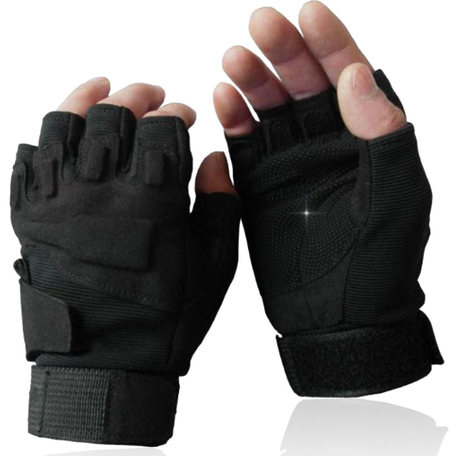 Black leather combat gloves - Black Hawk Tactical Gloves Military Army Paintball Airsoft Anti Skid Combat Shooting Work Bicycle Fingerless