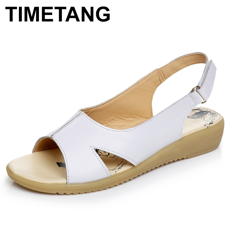 TIMETANG Summer Genuine Leather Women Sandals Comfortable Ladies Shoes Gladiator Sandal Women Female Flat Sandals Fashion Shoes timetang flat sandals t strap fashion trend sandals bohemia national flat heel beaded female shoes sale women shoes