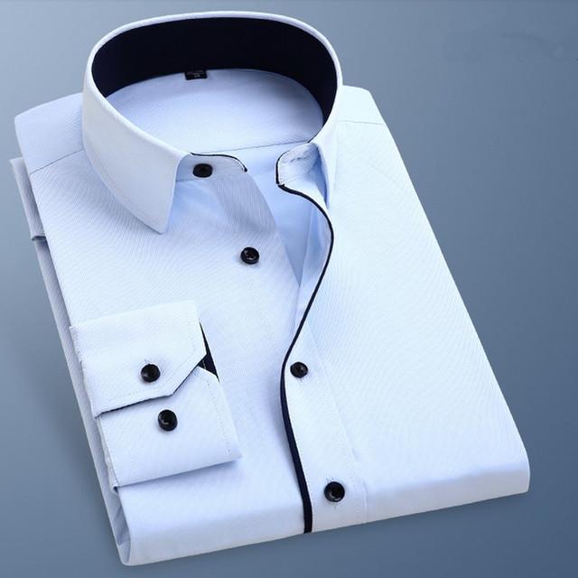 Masculina primavera de Manga Larga Blusas de Color Sólido de Fácil Cuidado Delgado Formal de Negocios Vestido de Camisa Básica Elegante Camisa Masculina Sociales