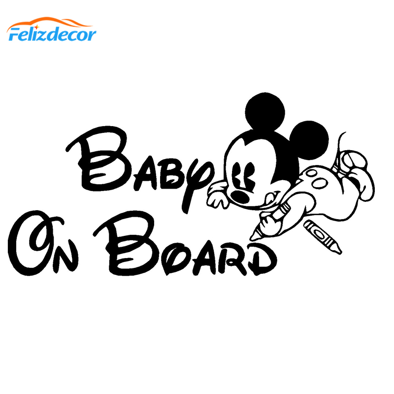 MICKEY MOUSE BOY Baby On Board Warning Cute WINDOW DECAL STICKER VINYL SIGN