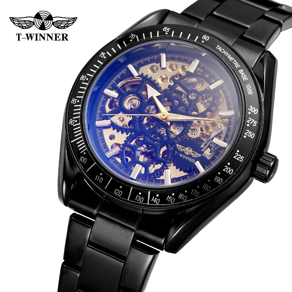 T-Winner Mens  Automatic Mechanical Skeleton Antique Steampunk  Watch with Color Intrigue Lens Relojes Hombre 2018 WRG8152M4T-Winner Mens  Automatic Mechanical Skeleton Antique Steampunk  Watch with Color Intrigue Lens Relojes Hombre 2018 WRG8152M4
