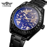 T Winner Men's Automatic Mechanical Skeleton Antique Steampunk Watch with Color Intrigue Lens Relojes Hombre 2018 WRG8152M4