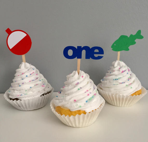 Prime Glitter The Big One Fishing Theme Birthday Cupcake Toppers Under Funny Birthday Cards Online Eattedamsfinfo