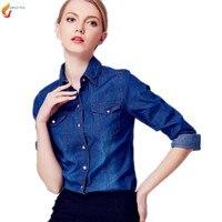 Chemise En Jean Femme Chemise A Manches Longues Denim Blouse Chemise Classique 2017 Coton Slim Tops