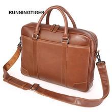 RUNNINGTIGER men's briefcase New Genuine Leather Men Bag Shoulder Bag Messenger Bags Causal Handbag Laptop Briefcase Male